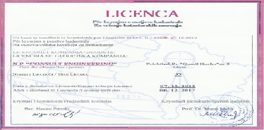 Licensed for cadastral and property rights registration (Kosovo Cadastral Agency)